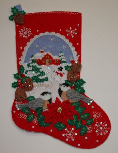 Bucilla Felt Applique CHICKADEES STOCKING Completed Finished Top BEAUTIFUL WORK