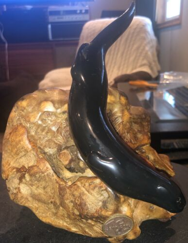 Vintage John Perry Ebonite Sea Otter Burlwood Sculpture