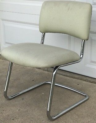 Vintage White Steelcase Steel Frame Cloth Chair Model 421480n W Tags
