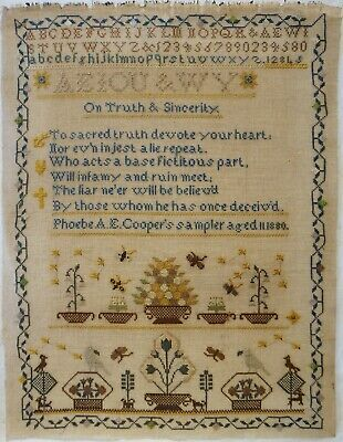 LATE 19TH CENTURY MOTIF & VERSE SAMPLER BY PHOEBE.A.E.COOPER AGED 11 - 1880