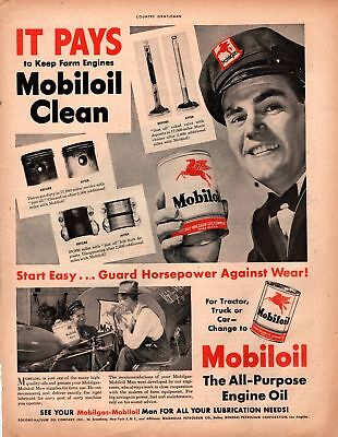 1947 Country Gentleman Magazine Advertisement Mobiloil 1 Page A426