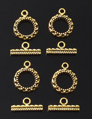 4PCS Antique Gold round multi shape Toggle Clasps jewelry-supplies
