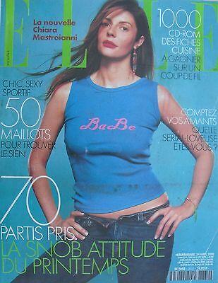 CHIARA MASTROIANNI Avril 2000 FRENCH ELLE Magazine PIERRE CARDIN / MAILLOTS