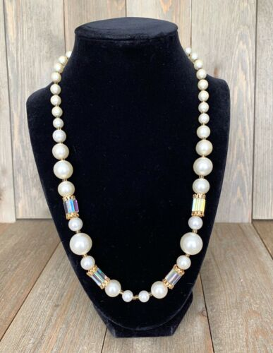 Necklace Japan Faux Pearl AB Beads Strand Signed Vintage