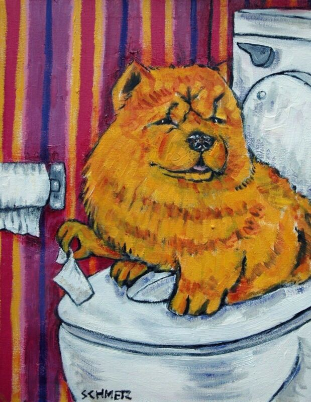 chow chow dog in the bathroom 13x19  art print animals dogs impressionism