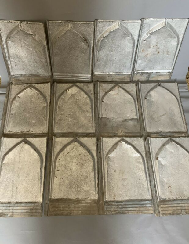 Vintage Tin Architectural Roof Shingles Tiles Embossed Backsplash Lot of 12
