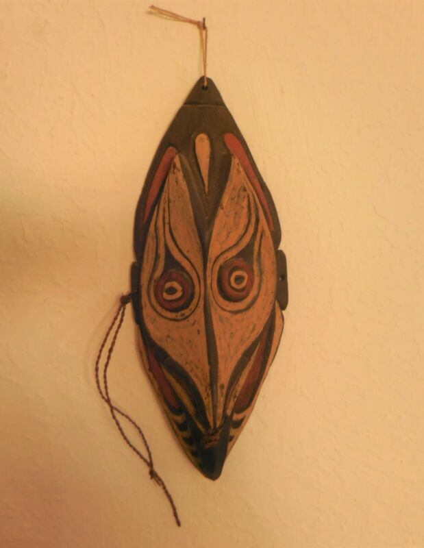 Vintage Papua, New Guinea Mask, Carved & Painted Wood, Cord Decorations