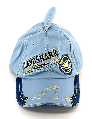 NEW Margaritaville Landshark Lager One Size Fits All Light Blue Shark Fin Hat