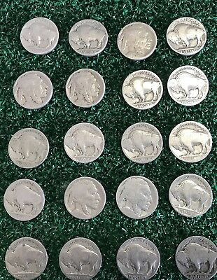 VINTAGE United States Coin Lot of 20 Buffalo Nickels 1913-1938 Dateless Fast Sh