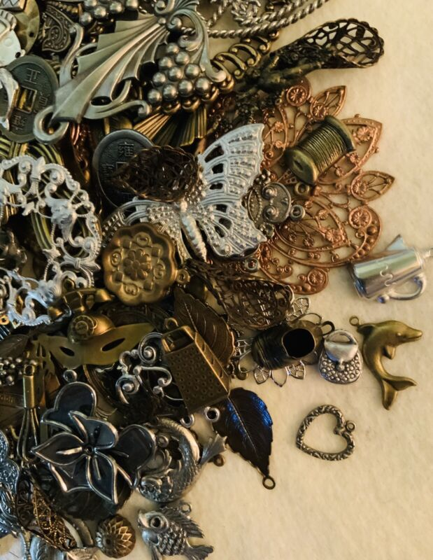 VINATGE...1 POUND of 100% Brass Stampings, Filigree And Charms..made In USA