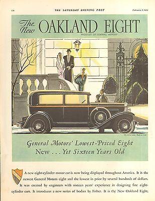 1930 OAKLAND EIGHT SEDAN  CAR ORIG VINTAGE AD