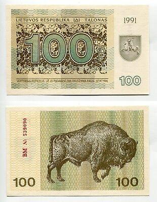 100 Talonas Litauen 1991 unc, Pick 38b