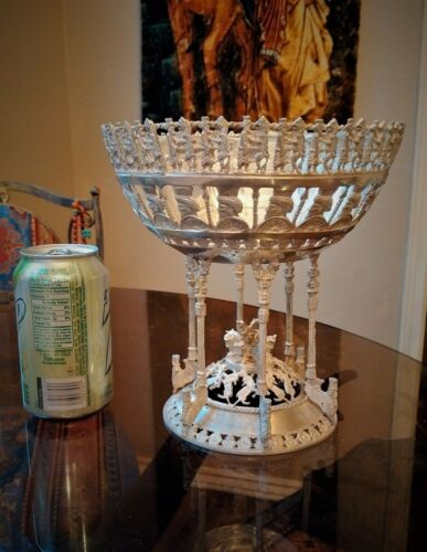 PERSIAN ART EXHIBITION XL STERLING SILVER FOOTED BOWL CENTER PIECE GLASS INSERT