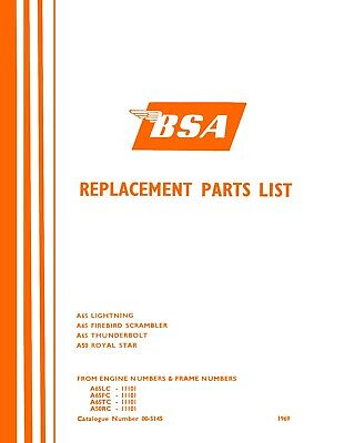 BSA Parts Book for A50 & A65 Twins Catalogue 1969 Models Lightning Thunderbolt