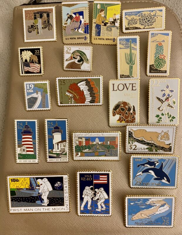 Lot Of 20 Vintage USPS Stamp Lapel Pins, The March Co. & Winco Int. W/out Backs