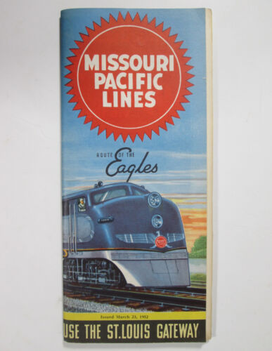 Vintage 1952 Missouri Pacific Lines Railway Timetable Rout of the Eagles MoPac