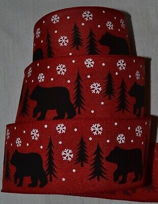Wired Ribbon~Christmas Black Bear~Holiday Red~Pine Tree~2.5
