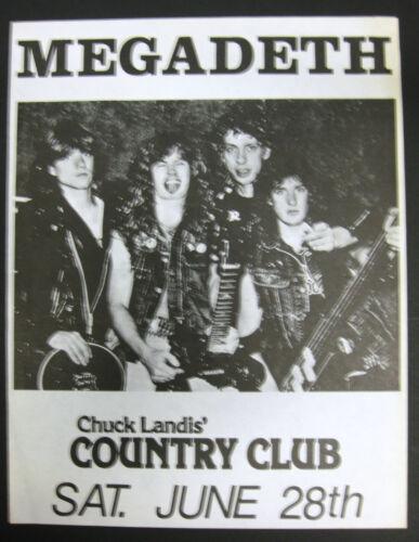 MEGEDETH Country Club RESEDA California 1986 CONCERT FLYER Mustaine METAL VG+