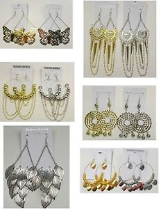 Wholesale Jewelry lot 12 pairs Mixed Styles Big Fashion Dangle Plated  Earrings