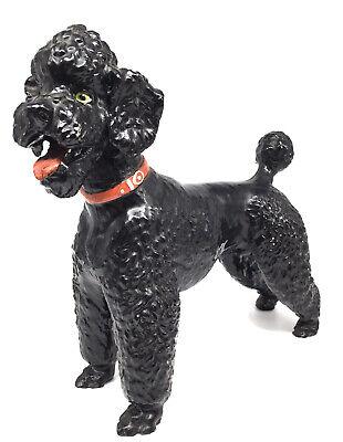 Vintage Breyer Molding Co Black Poodle Dog Red Collar Figurine Toy Statue