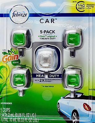 Febreze Gain Scent Car Automotive Air Freshener Odor Elimination, 5 Vent Clips