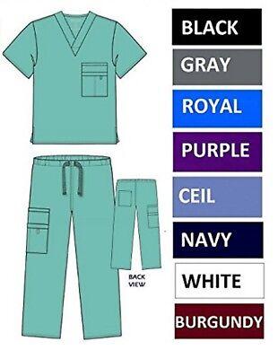 NWT Unisex Nursing Medical Solid Scrubs Top Pants or Sets 8 Pockets XS S M L XL