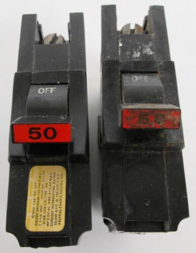 Assorted of Lot of Federal Pacific Circuit Breakers (1)NA & (1)NA-NI 1 Pole 50A