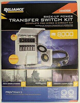 Reliance Controls 8000 Watt 6 Circuit Generator Transfer Switch Model 3006hdk
