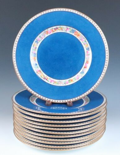 Set 12 Antique Wedgwood Powder Blue Gold & Enameled Floral Dinner Service Plates