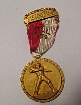 VINTAGE 1959 SWISS MILITARY EMBOSSED DISTINCTION COMBAT SHOOTING AWARD MEDAL