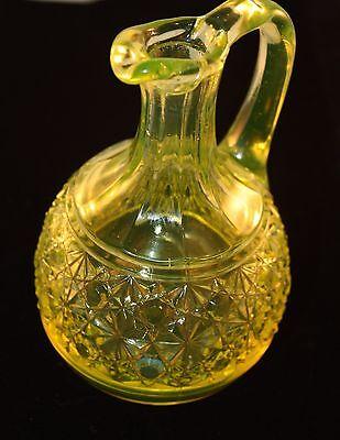 VINTAGE Antique VICTORIAN EAPG VASELINE Glass CRUET