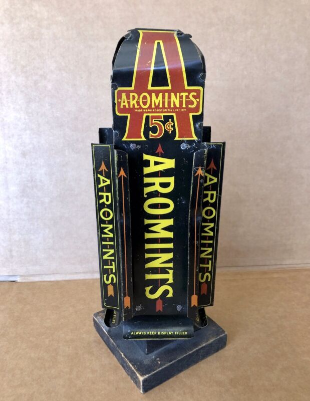 Rare Aromints 1920's Rotating Counter Top Store Display, Dispenser