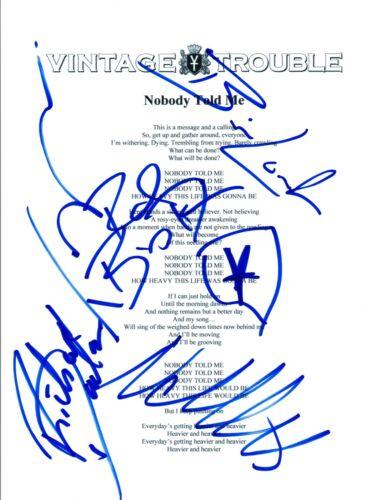 "Vintage Trouble Full Band Signed Autographed ""Nobody Told Me"" Lyric Sheet COA"