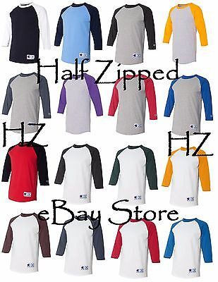 Champion Mens 3/4 Sleeve Raglan Baseball T-Shirt T137 S-3XL NEW