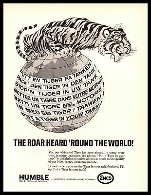 """1967 ENCO Gas Humble Oil """"Put A Tiger In Your Tank!"""" World Languages Print Ad"""