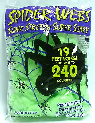Halloween Spider Webs Green Super Stretch 240 Square Feet Party Decoration Prop