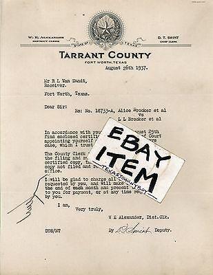 1937 D.T. Swint LETTERHEAD Fort Worth Texas TARRANT COUNTY Stafford Lowdon