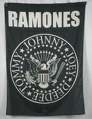 Authentic RAMONES Eagle Logo High Quality Silk-Like Fabric Poster Flag NEW
