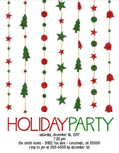 Holiday Glitter Strands Holiday Christmas Party Invitation