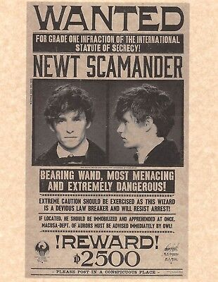 Harry Potter Daily Prophet Wanted Poster Newt Scamander   Beasts   Prop Replica