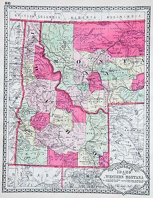 1886 IDAHO antique original Tunison map  HAND COLORED