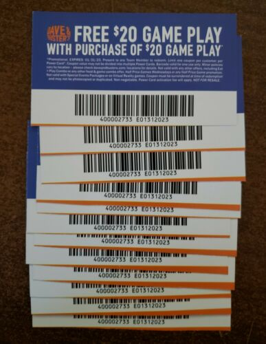 15 DAVE AND BUSTERS $20 OFF GAME PLAY VOUCHERS EXPIRES 1/31/2023 100% feedbck