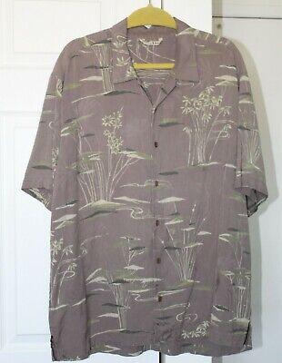 1940s Men's Shirts, Sweaters, Vests Tommy Bahama Mens XL Silk Aloha Shirt S/S B/D Subtle Retro 1940s Water Lily MCM  $25.00 AT vintagedancer.com