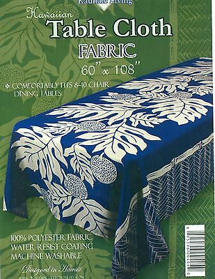 Blue Hawaiian Tropical Fabric Tablecloth (3 size choices) floral rectangular - Blue Fabric Tablecloth