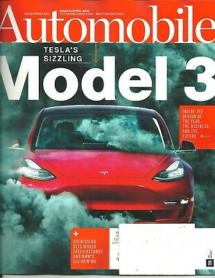Automobile March April 2018 Telsa Model 3 BMW M5 Throwback Mustangs Best Deal