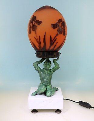 Art Deco Lampe Atlas Cameo Schirm geätztes Dragon Fly Dekor - 17422 -