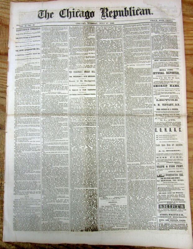 "1866 Chicago newspaper w NATIVE AMERICAN INDIAN ""Sun Dance"" described in detail"