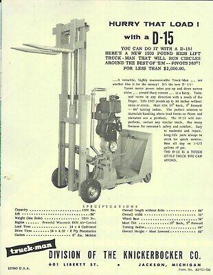 Fork Lift Truck Data Sheet - Truck-man - D-15 - Brochure Lt363