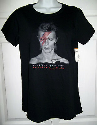 David Bowie Aladdin Sane Screened Ladies Jrs Sz L Black T-Shirt by Bravado NWT