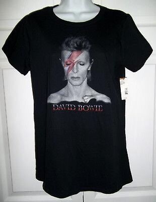 David Bowie Aladdin Sane Screened Ladies Jrs Sz L Black T-Shirt by Bravado NWT